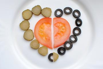Сердце из продуктов питания