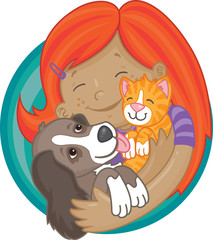 Happy red-haired girl holding cute puppy and kitten
