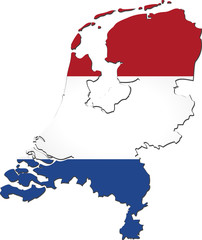 Map of Netherlands with national flag