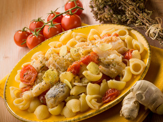 pasta with fish tomatoes and ginger