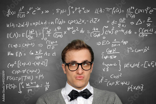 Man at the Blackboard with formulars
