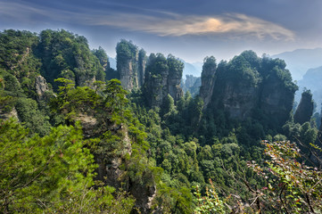 Mountain landscape of Zhangjiajie Wulingyuan National Park