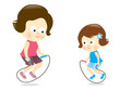 Mother and daughter jumping rope