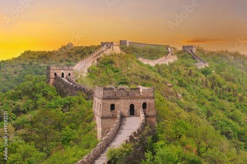 Foto op Aluminium Beijing Great Wall of China during sunset
