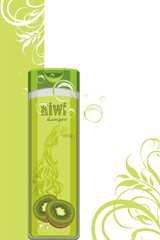 Kiwi shampoo bottle on the decorative background