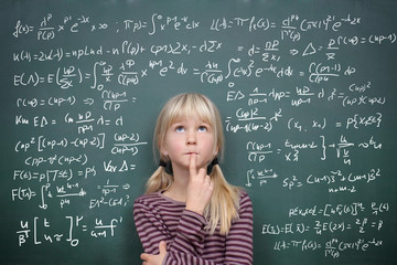 Schoolgirl at the Blackboard with Formulars