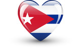 Heart-shaped icon with national flag of Cuba