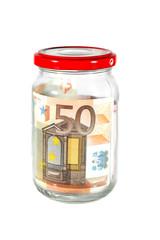 Billete de 50 euros un en bote de cristal