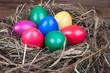 Farbige Ostereier im Nest a. Holz