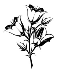 Black silhouette of bluebells. Vector illustration.