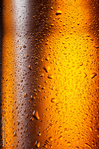 Beer. Texture of water drops on the bottle