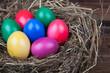 Farbige Ostereier im Nest auf Holz V