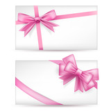 cards with pink bows with ribbons