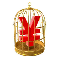 Birdcage with a Yen currency symbol inside