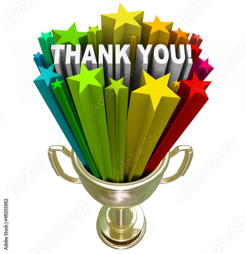 Thank You Trophy Recognition Appreciation of Job Efforts