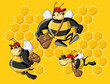 Cartoon bees in front of a honeycomb. Bee hive.