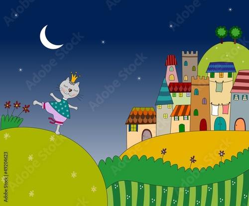 Leinwandbild Motiv Little cat on the night landscape