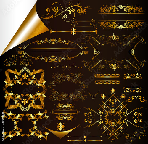 Calligraphic gold-framed design elements and page decorations