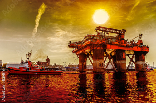 Oil rig in the dramatic scenery.