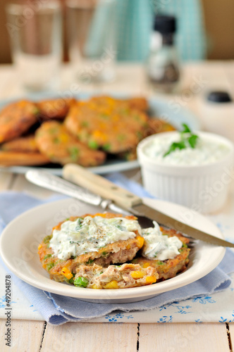Corn, Pea and Turkey Patties