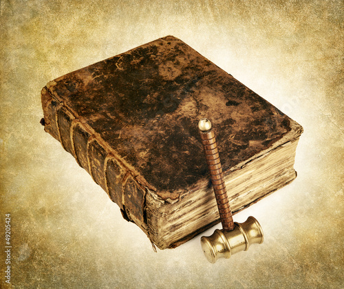 vintage law book and hammer