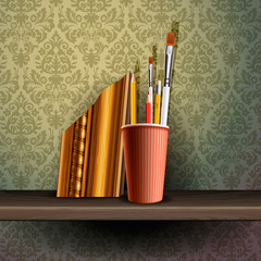 Different art brushes and pencils, vector Eps 10 illustration.