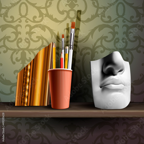 Davids nose and different art brushes, vector Eps 10 image.