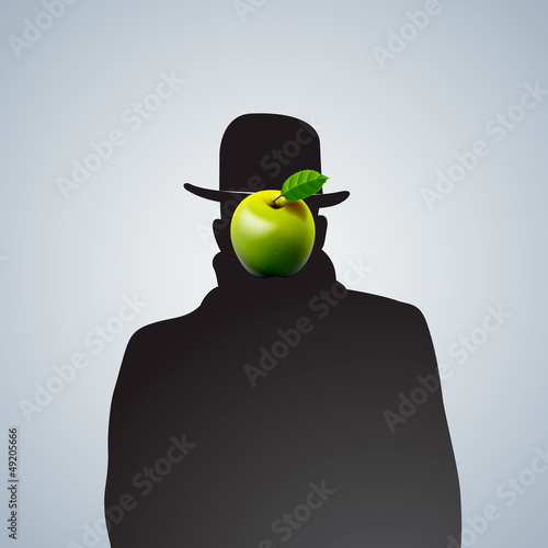 Silhouette of man with face obscure, vector Eps 10 image.