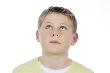 Portrait of boy looking up