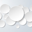 Abstract white paper circles on light blue background