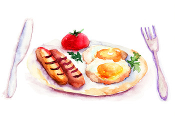Fried eggs with sausages