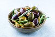Marinated olives and capers with rosemary