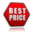 best price in red hexagon banner