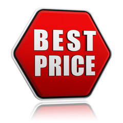 best price in red hexagon banner