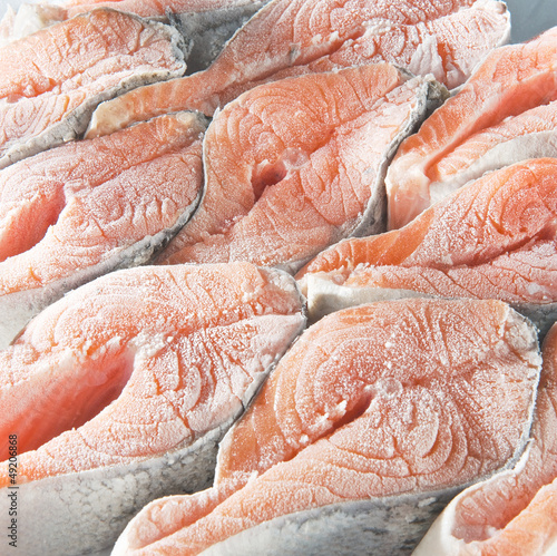 Frozen salmon steaks