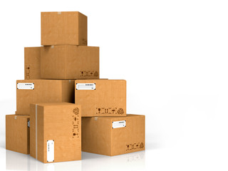Cardboard Boxes Isolated on White.