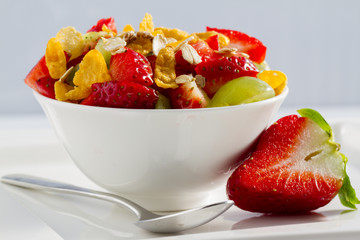 Diet, healthy breakfast , weight loss - muesli with strawberry