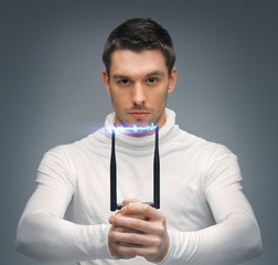 futuristic man with stun gun