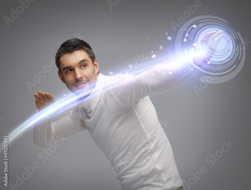man working with virtual screen