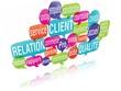 nuage de mots bulles 3d : gestion relation client