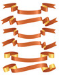Set of orange ribbons