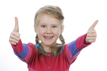girl showing thumbs up on white