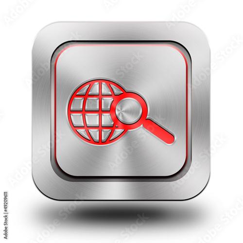 Web search aluminum glossy icon, button