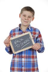 boy holding slate
