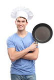 Chef holding frying pan
