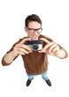 Geeky man with vintage camera