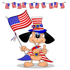 A cartoon dog celebrating 4th of July with flag and bunting