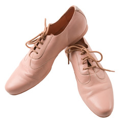 Female pink leather oxford shoes
