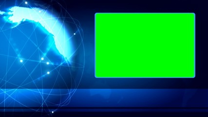 Spinning Earth blue science background with green screen
