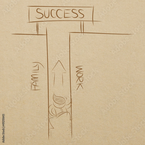 business man climbing between family and work wall to success